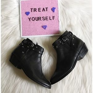 Halogen Lidia Studded Leather Ankle Booties Boots